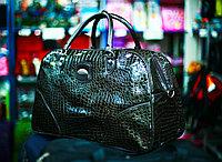 Женская лакированная сумка (темно-зеленая)