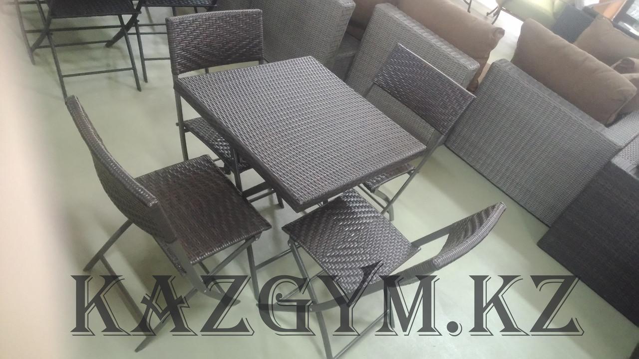 Складной стол квадратный с 4 стульями