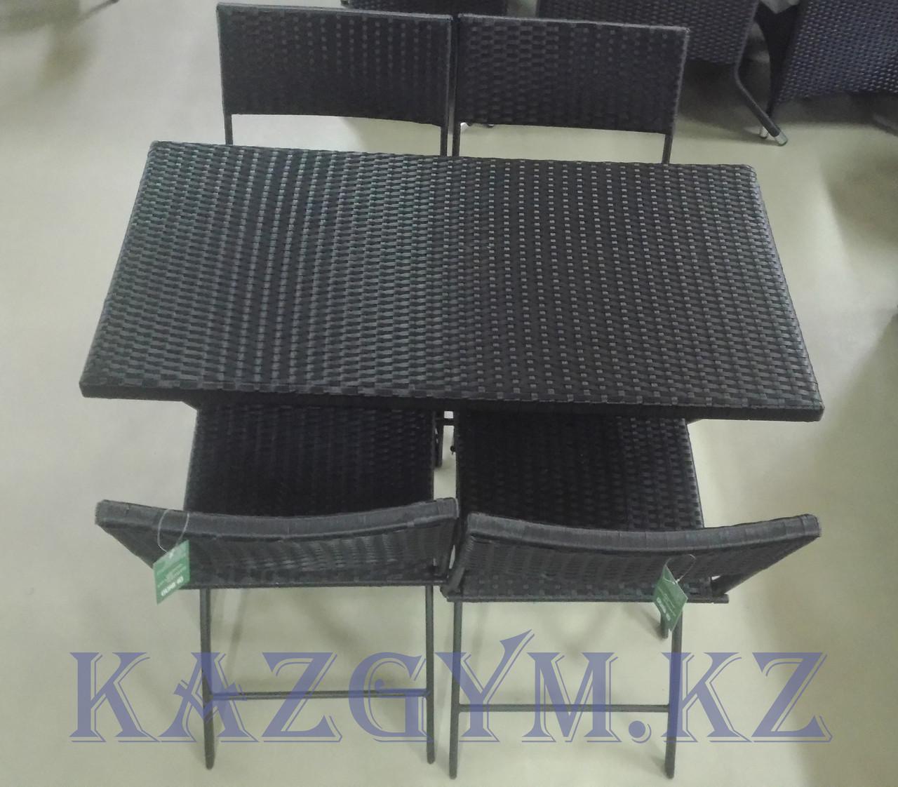 Складной стол прямоугольный с 4 стульями