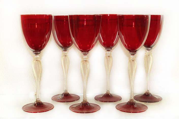 Фужеры для вина из венецианского стекла, ручная работа.Италия
