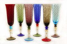 Фужеры для шампанского, ручная работа. Венецианское стекло. Италия