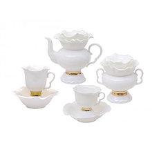 Чайный сервиз Белый цветок. Костяной фарфор. Авторская работа