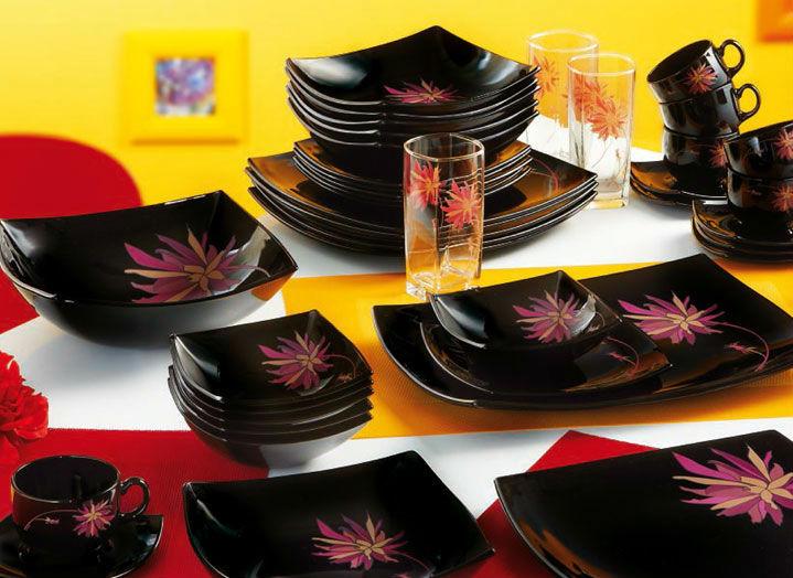 Столовый сервиз Luminarc Pink Sorbet Black 44 предмета