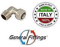Уголок для металлопластиковой трубы снаружной резьбой 16х3/4 General Fittings