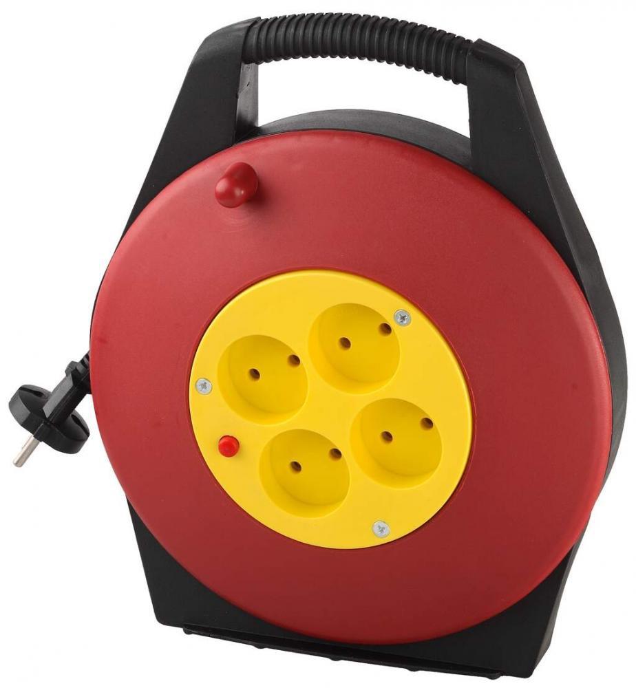 (SV-55071-10) Удлинитель СВЕТОЗАР электрический на катушке, евро, 4 гнезда, 10м