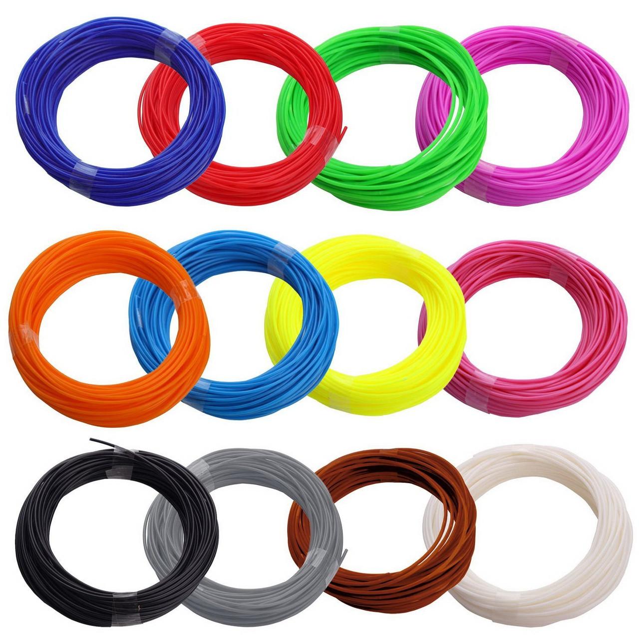 Набор пластика для 3D ручек 80м  пластика в различных цветах + бонус! - 4м светящегося пластика!