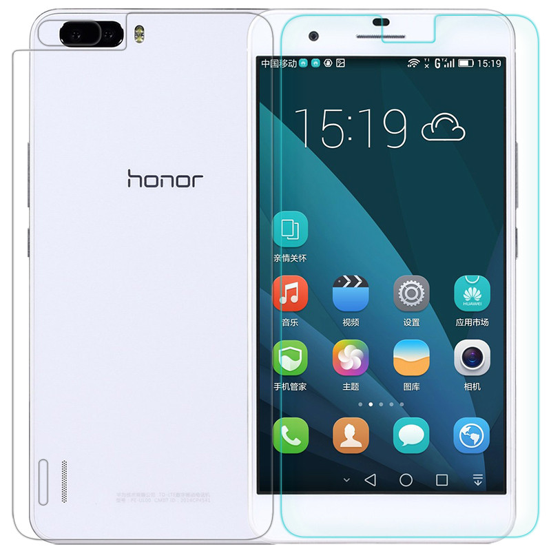 Противоударное защитное стекло Crystal на Huawei Honor 6 (двухсторонний)