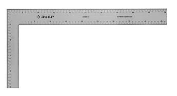 "(34350-50) Угольник ЗУБР ""ЭКСПЕРТ"" столярный нерж. сталь, шкала: шаг 1 мм, гравированная, 500 х 250 мм"