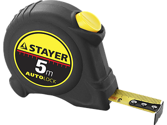 "(2-34126-05-25_z01) Рулетка STAYER ""MASTER"" ""AUTOLOCK"", корпус с резин. напылением, автостоп,5м*25мм"