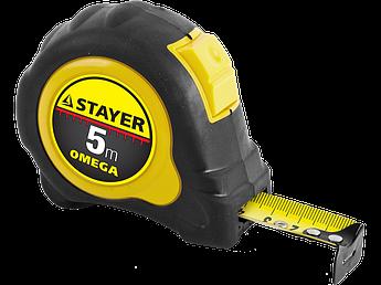 "(3402-05-19_z01) Рулетка STAYER ""MASTER"" ""OMEGA"" автостоп, обрезиненный корпус, 5мх19мм"