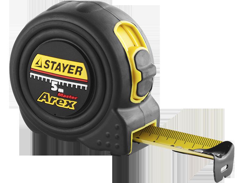 """(3410-05-25_z01) Рулетка STAYER """"PROFI"""" """"AREX"""", двухкомпонентный противоударный корпус, упрочненное полотно."""