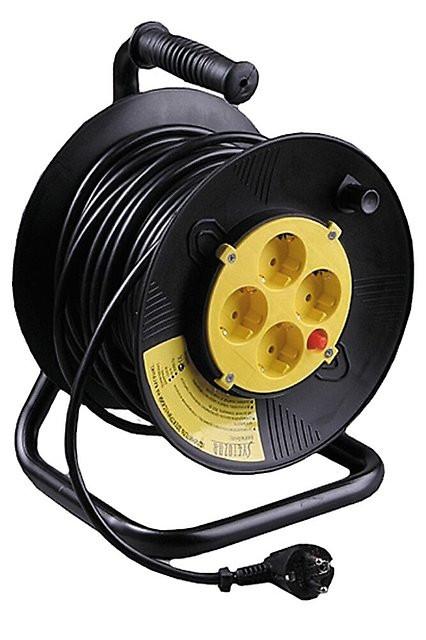 (SV-55083-40) Удлинитель СВЕТОЗАР электрический с заземлением на катушке, евро, 4 гнезда, 40м