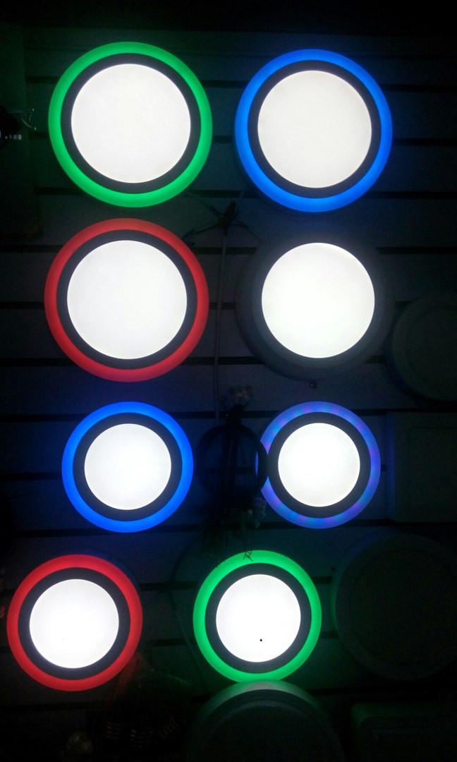 Круглый светодиодный накладной потолочный светильник с цветной окантовкой 25 w, 25*25 см. 3 режима свечения