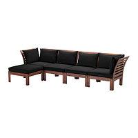 Диван 4-мест,+табурета д/ног, садов, коричневая морилка, черный, ЭПЛАРО / ХОЛЛО, ИКЕА, IKEA Казахстан