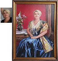 Женский камерный портрет по фотографии. Женщина в платье цвета ультамарин