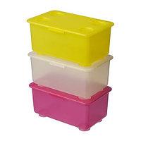 ГЛИС Контейнер с крышкой, розовый/белый, желтый