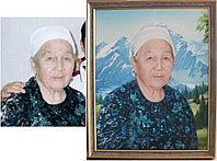 Портрет маслом. Алматы. Портрет бабушки на фоне Алматинских гор.