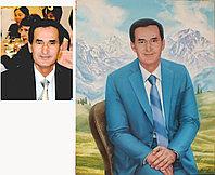 Мужской портрет маслом на фоне горного пейзажа.