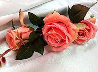 Ветка розы с капельками росы (оранжево-розовая) искусственный, фото 1