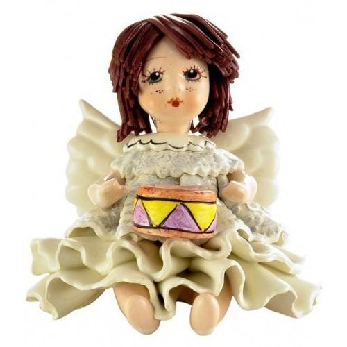 Статуэтка Ангелочек с барабаном. Керамика, Италия, ручная работа
