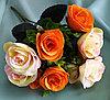 """Букет """"Fiesta Bubbles rose"""" комбинированный (кремовые,оранжевые) искусственный"""
