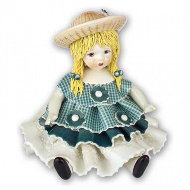 Статуэтка Девочка в голубом платье. Керамика, Италия, ручная работа
