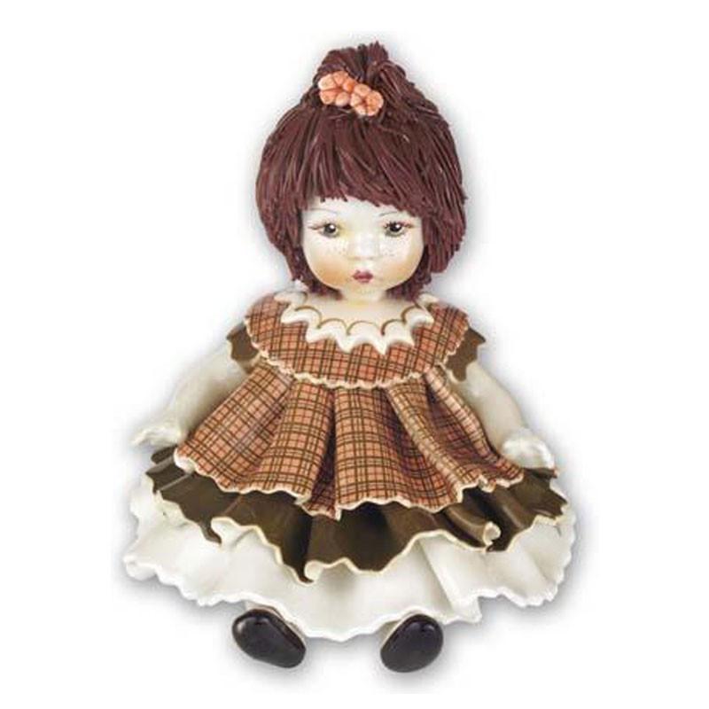 Статуэтка Девочка в коричневом платье. Керамика, Италия, ручная работа