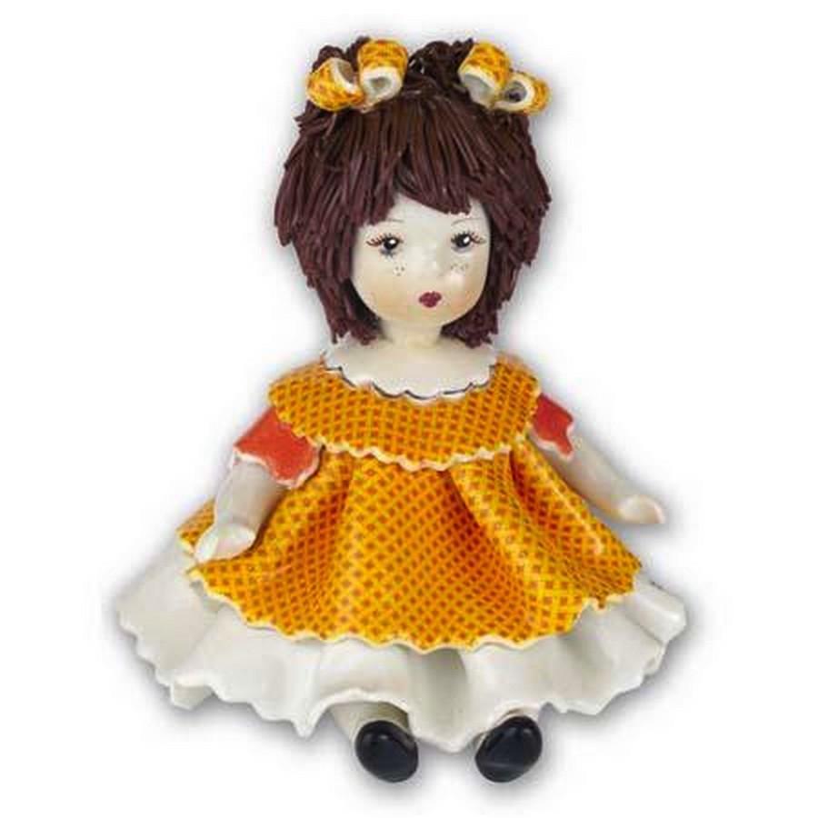 Статуэтка Девочка в оранжевом. Керамика, Италия, ручная работа