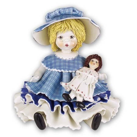 Статуэтка Девочка с куклой. Керамика, Италия, ручная работа