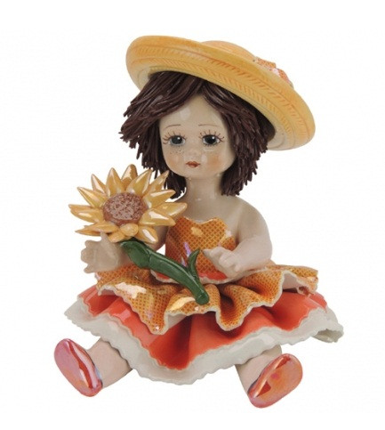 Статуэтка Девочка с подсолнухом. Керамика, Италия, ручная работа
