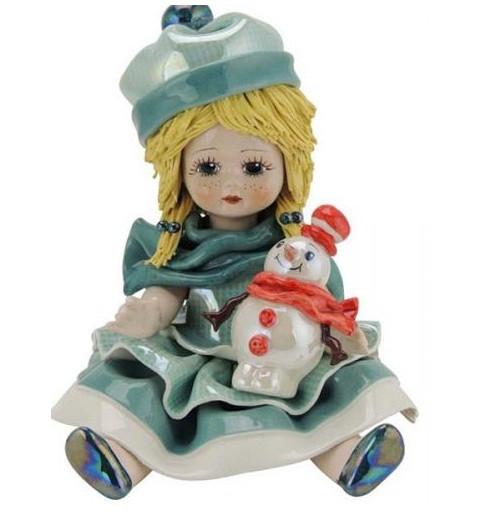 Статуэтка Девочка со снеговиком. Италия, керамика, ручная работа