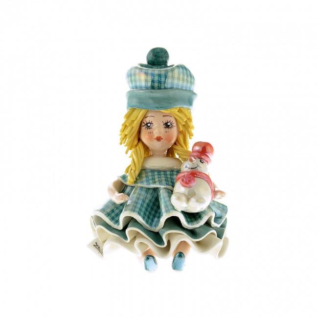 Статуэтка Девочка со снеговичком. Керамика, Италия, ручная работа