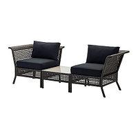 Кресло+столик садовое угловое , черно-коричневый , КУНГСХОЛЬМЕН/ КУНГСЭ, ИКЕА, IKEA Казахстан