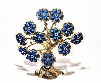 """Статуэтка """"Дерево от сглаза, оберег"""", 26*28 см, золотистый ствол, синие цветы"""