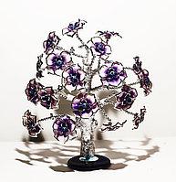 """Статуэтка """"Дерево от сглаза, оберег"""", 26*30 см, серебристый ствол, фиолетовые цветы"""