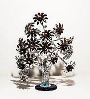 """Статуэтка """"Дерево от сглаза, оберег"""", 24*32 см, серебристый ствол, коричневые цветы"""