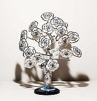 """Статуэтка """"Дерево от сглаза, оберег"""", 24*32 см, серебристый ствол, белые цветы"""