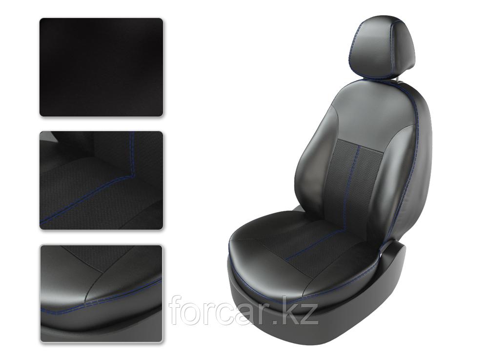 Чехлы модельные KIA RIO 4 с 2011 SD дел черный/черный/синий 22068665 CarFashion
