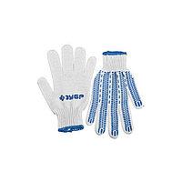Перчатки ЗУБР трикотажные, 10 класс, х/б, с защитой от скольжения, L-XL