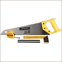 "Набор STAYER ""STANDARD"" для столярных работ: ножовка по дереву 400 мм, угольник 200 мм, рулетка 3 м, 2 карандаша, 5 пред"