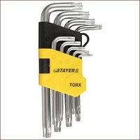 """Набор STAYER Ключи """"MASTER"""" имбусовые короткие, Cr-V, сатинированное покрытие, пластик. держатель, T2-T10мм, 9 пред"""