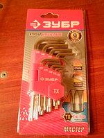 """Набор ЗУБР Ключи """"МАСТЕР"""" имбусовые короткие, Cr-V, сатинированное покрытие, пластик. держатель, TORX Т10-Т50, 9 пред"""