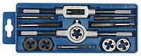 """Набор ЗУБР """"МАСТЕР"""" с металлореж. Инстр., метчики однопроходные и плашки М6-М12, оснастка - в пластиковом боксе, 12пред."""