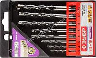"""Набор ЗУБР Свёрла """"СУПЕР-6"""" по бетону, ударные, с шестигранным хвостовиком, 3; 4; 5; 6; 7; 8; 9; 10мм, 8шт"""