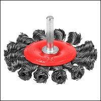 Щетка STAYER дисковая для дрели, плетёные пучки проволоки 0,5мм, 75мм