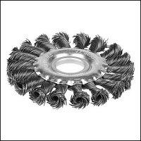 Щетка STAYER  дисковая для УШМ, плетенные пучки проволоки 0,5мм, 100мм/22мм