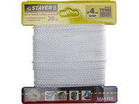 """Шнур STAYER """"MASTER"""" хозяйственно-бытовой, полипропиленовый, вязанный, с сердечником, белый, d 4, 20м"""