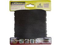 """Шнур STAYER """"MASTER"""" хозяйственно-бытовой, полипропиленовый, вязанный, с сердечником, черный, d 4, 20м"""