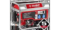 Генератор ЗУБР бензиновый, 4-х тактный, ручной и электрический пуск, 2800/2500Вт, 220/12В