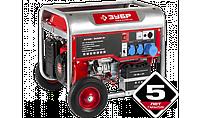 Генератор ЗУБР бензиновый, 4-х тактный, ручной и электрический пуск, 6200/5700Вт, 220/12В, ЗЭСБ-6200-Э
